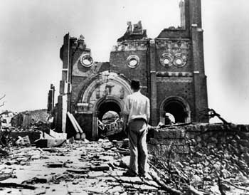 The ruins of the cathedral at Nagasaki
