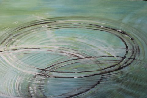 Skipping Stones 48x31.5x2 oil-wood panel-Carver